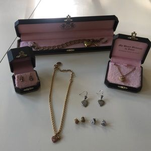 Juicy Couture necklace, earrings, charm bracelet